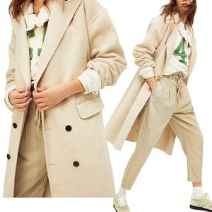 Free People Adore You Wool Blend Sweater Coat Sand